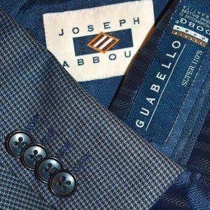 $429 NWT 48R Joseph Abboud Metal Blue Plaid blazer